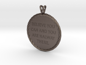 Believe you can | Quote Necklace, Pendant in Polished Bronzed Silver Steel