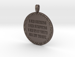 I AM SEEKING I AM STRIVING | Quote Necklace in Polished Bronzed Silver Steel