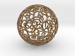 Triskel celtic sphere 3b ( 2,8+4 - 4 cm ) in Raw Brass