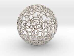 Triskel celtic sphere 3b ( 2,8+4 - 4 cm ) in Rhodium Plated Brass