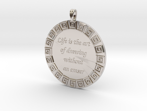 Life Is The Art Of Drawing | Jewelry Quote Pendant in Platinum