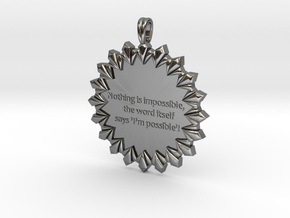 Nothing Is Impossible | Jewelry Quote Necklace. in Fine Detail Polished Silver