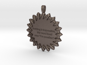 Nothing Is Impossible | Jewelry Quote Necklace. in Polished Bronzed Silver Steel