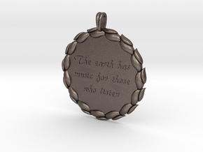 The Earth Has Music   Jewelry Quote Necklace. in Polished Bronzed Silver Steel