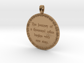 The Journey Of A Thousand | Jewelry Quote Necklace in Polished Brass