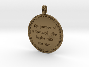 The Journey Of A Thousand | Jewelry Quote Necklace in Polished Bronze