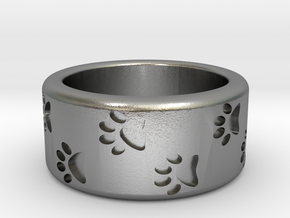 Cat Pawprints Ring in Natural Silver