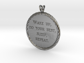 Wake Up | Jewelry Quote Necklace. in Fine Detail Polished Silver