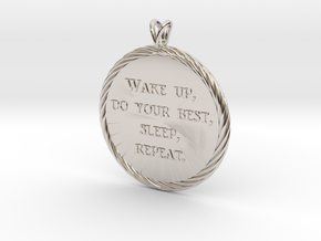 Wake Up | Jewelry Quote Necklace. in Platinum