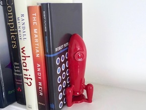 Retro Rocket Bookend in Gloss Red Porcelain