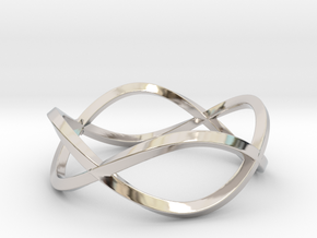 Size 9 Infinity Twist Ring in Rhodium Plated Brass