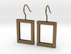 Picture Frame Earrings in Polished Bronze