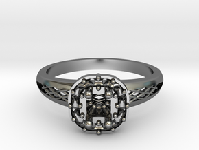Cushion Halo Engagement Ring in Fine Detail Polished Silver