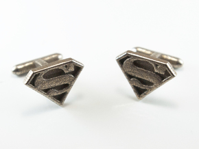 Superman Cuff links   in Polished Bronzed Silver Steel