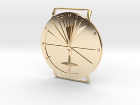 27.75N Sundial Wristwatch With Compass Rose in 14k Gold Plated Brass