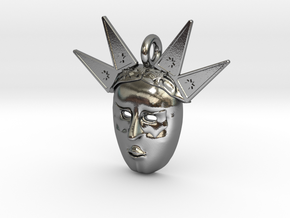 venetian carnival mask pendant in Polished Silver