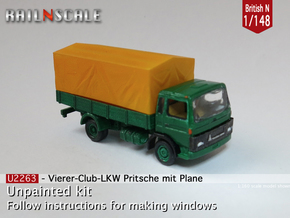 Club-of-4 Soft top (British N 1:148) in Smooth Fine Detail Plastic