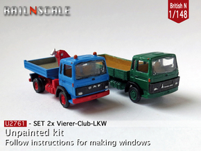 SET 2x Club-of-4 lorries (British N 1:148) in Frosted Ultra Detail