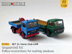 SET 2x Vierer-Club-LKW (TT 1:120) in Smooth Fine Detail Plastic