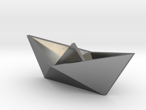 Classic Origami Boat in Polished Silver