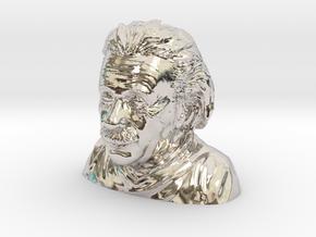 Einstein Bust in Rhodium Plated Brass