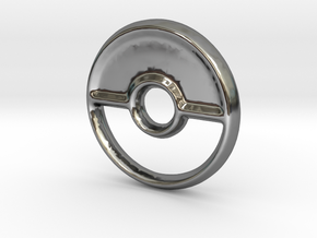 Pokeball (Closed) Charm - 11mm in Fine Detail Polished Silver