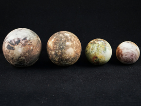 The four Galilean satellites to scale in Full Color Sandstone