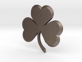 Customizable Shamrock Pendant in Polished Bronzed Silver Steel