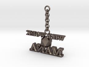 Mana-Keychain in Polished Bronzed Silver Steel