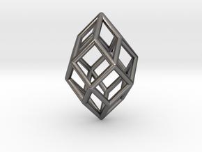 0490 Polar Zonohedron E [5] #001 in Polished Nickel Steel