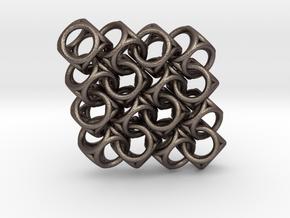 Spherical Cuboid Pattern Design in Polished Bronzed Silver Steel