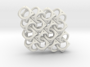 Spherical Cuboid Pattern Design in White Natural Versatile Plastic
