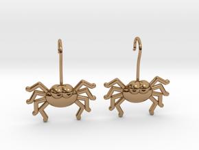 Cute Spider Earrings in Polished Brass