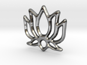 Lotus Pendant/Charm - 16mm in Fine Detail Polished Silver