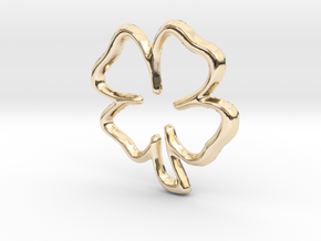 Lucky Clover Pendant/Charm - 16mm in 14K Yellow Gold