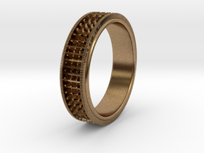 Ø0.666 inch/Ø16.92 Mm Detailed Ring in Natural Brass