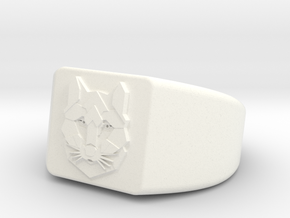 Geometric Wolf Ring in White Processed Versatile Plastic