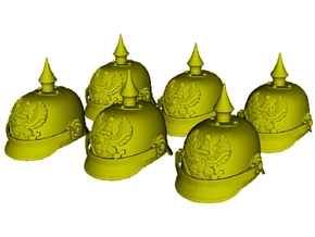 1/15 scale German pickelhaube helmets x 6 in Smooth Fine Detail Plastic