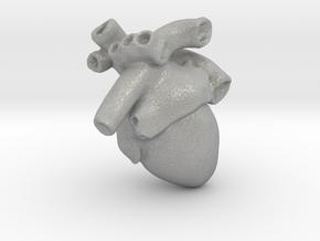 Anatomical Heart Pendant in Aluminum