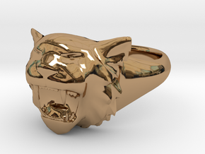 Awesome Tiger Ring Size 6 in Polished Brass