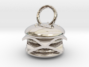 Cheeseburger pendant in Rhodium Plated Brass