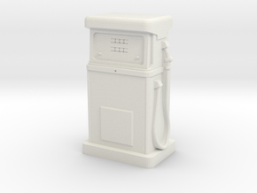 35mm Gauge - 1980's Petrol Pump in White Natural Versatile Plastic