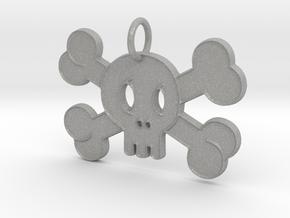 Cute Skull With Bones Pendant Charm in Aluminum