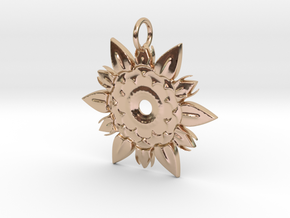 Elegant Chic Flower Pendant Charm in 14k Rose Gold Plated Brass
