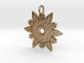 Elegant Chic Flower Pendant Charm in Polished Gold Steel
