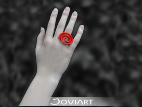 Curly Rose Ring 17mm in Red Processed Versatile Plastic