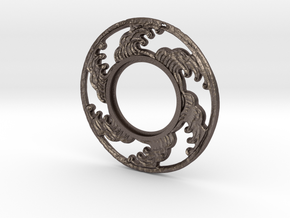 MHS compatible Tsunami Tsuba in Polished Bronzed Silver Steel