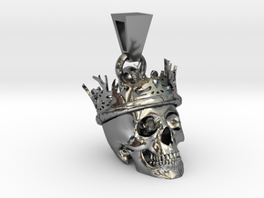 SKULL CROWN PENDANT in Fine Detail Polished Silver