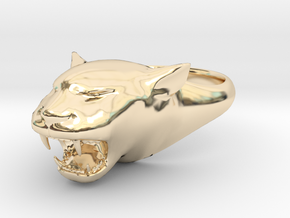 Cougar-Puma Ring , Mountain lion Ring Size 13  in 14K Gold