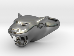 Cougar-Puma Ring , Mountain lion Ring Size 13  in Fine Detail Polished Silver
